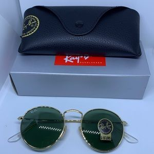 Ray Ban Round Metal Sunglasses Unisex Gold Classic